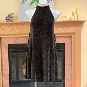Anna Grace Black Shimmer Open Back Mini Dress L